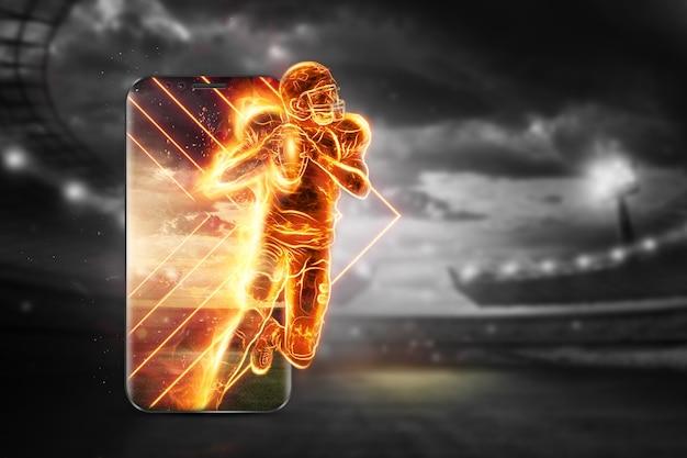 燃えているアメリカンフットボール選手のシルエット