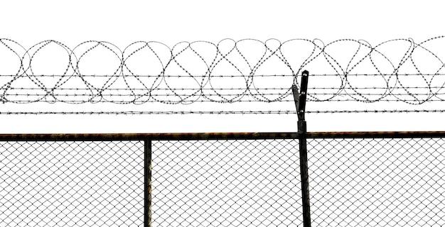 白い背景で隔離の有刺鉄線フェンスのシルエット