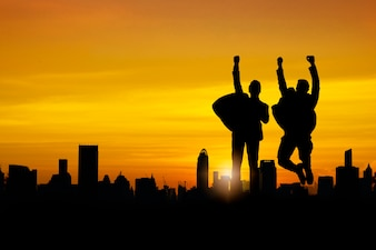 Silhouette of business people team and successful teamwork group celebration and happiness