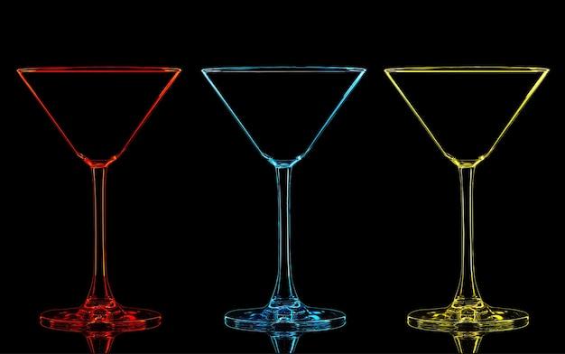 黒の背景にカラーマティーニグラスのシルエット。