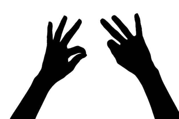 Силуэт рук, изолированные на белом фоне