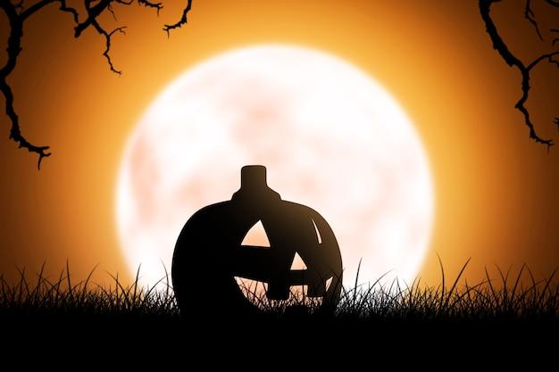 満月の背景と草の上のジャック・オー・ランタンのシルエット