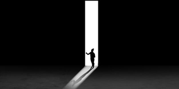 夜に光に向かって歩いている男のシルエット、上からの眺め。生き方、どこにも行かない。コピースペース付きのチラシ。精神と芸術の概念、孤独、選択の自由。抽象的なイラスト。