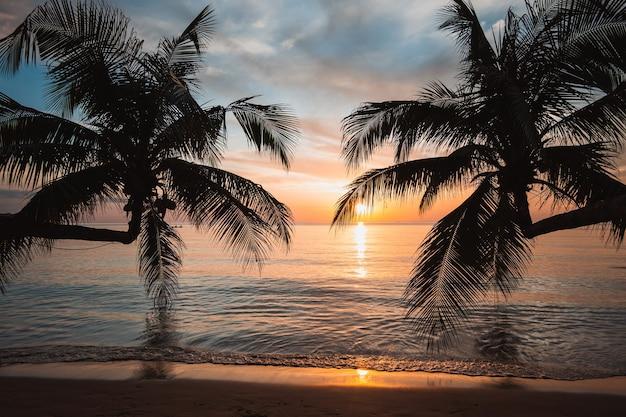 夏の旅行のための熱帯の海のビーチの背景に美しい夕日のヤシの木のシルエット