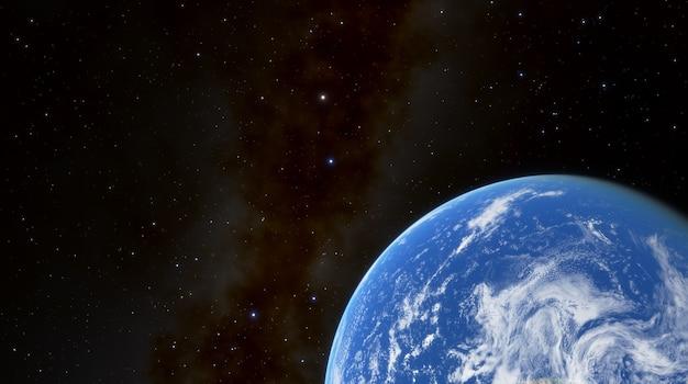 星と天の川銀河を背景にした惑星地球のシルエット。太陽に照らされた惑星地球、宇宙の青い惑星地球