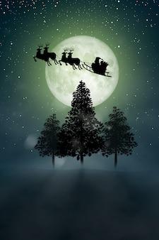 산타 클로스의 실루엣은 크리스마스 밤에 보름달 위에 순록을 타고 이동합니다.