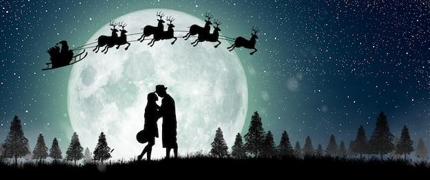 밤에 보름달 위에 산타 클로스의 실루엣 크리스마스 즐기는 커플 댄스