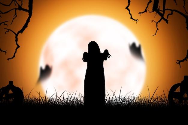 夜のシーンの背景と立っている怖い幽霊の女性のシルエット。ハロウィーンのコンセプト