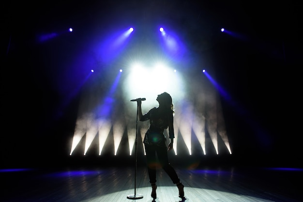 Силуэт певца на сцене. темный фон, дым, софиты.