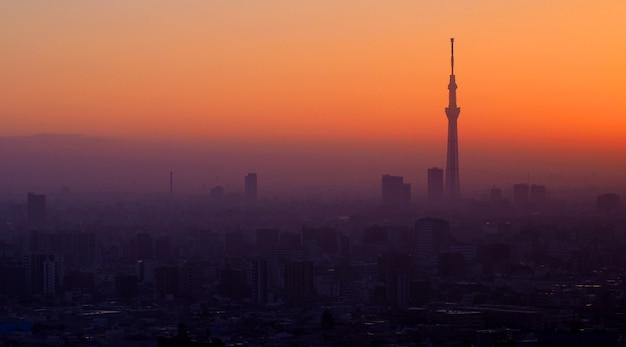 夕焼けの東京スカイツリーの建物と風景都市のシルエット。