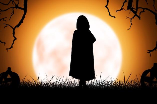 満月の背景で立っているマントを持つ魔女の女性のシルエット