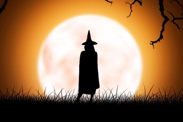 満月の背景に立っている帽子を持つ魔女の女性のシルエット