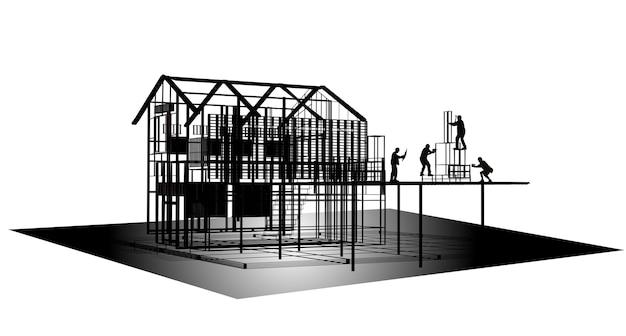 建設現場で構造物に取り組んでいる労働者ビルダーのシルエット。 3dレンダリング