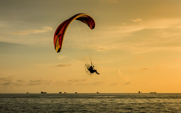 Silhouette of paragliding