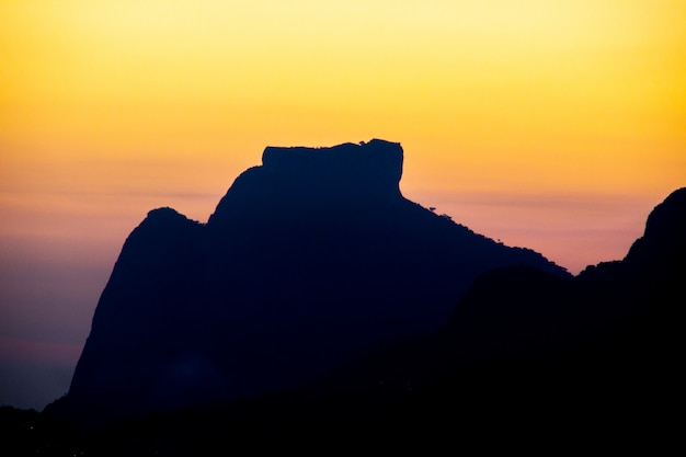 Silhouette of pedra da gavea in rio de janeiro