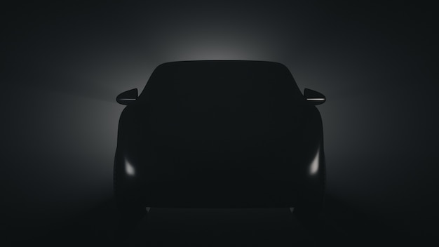 Silhouette of a prototype passenger car. front view.