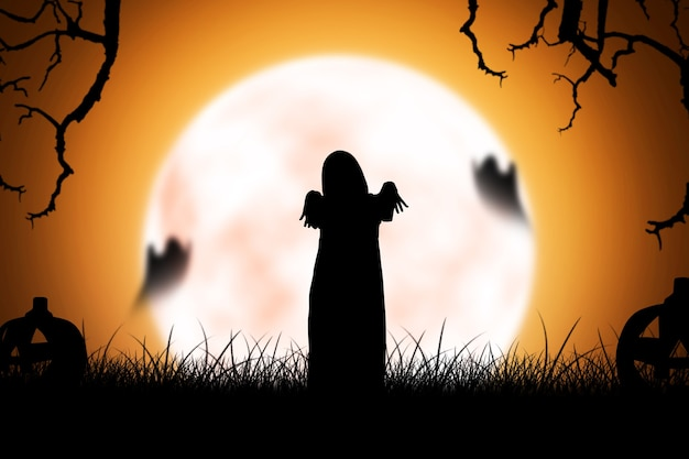 Silhouette of scary ghost woman standing with night scene background. halloween concept