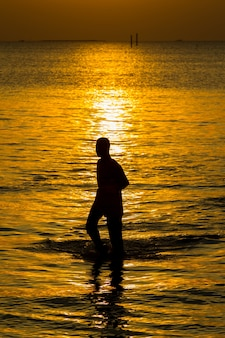 Silhouette sea beach