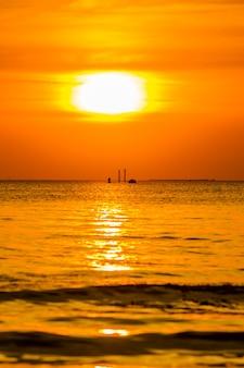 Silhouette sea sunset