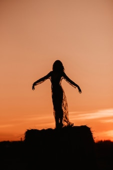 Silhouette of a sexy girl in a transparent dress in summer at sunset in a field on a haystack in nature. added the effect of a small film grain