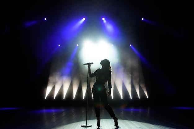 Silhouette of singer on stage. dark background, smoke, spotlights.