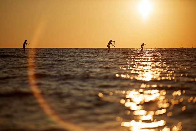 Silhouette of three young people rowing on a surfboard to the horizon in the open sea beautiful scenic sunset