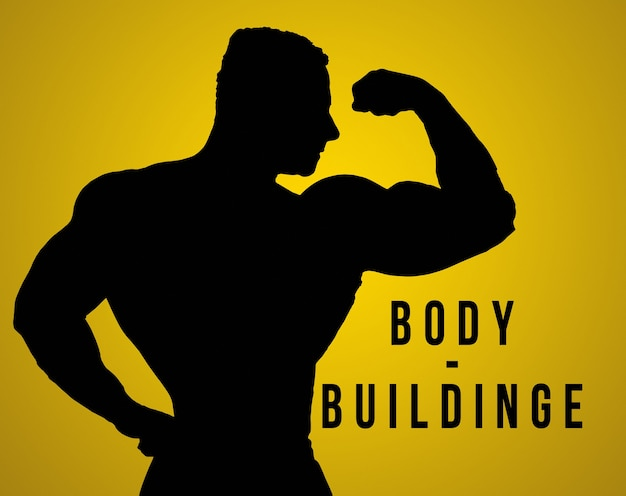 The silhouette of torso of male body builder on studio background.