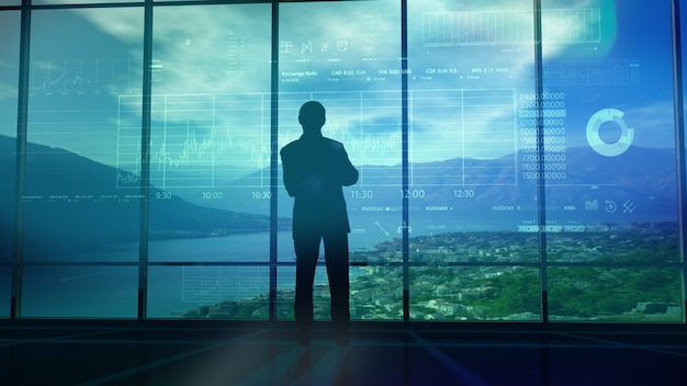 Silhouette of a trader in the office before infographics