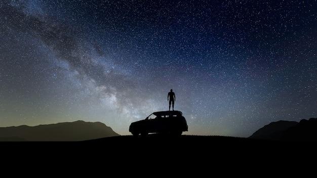 밤에 스타 배경으로 차에 실루엣 여행자
