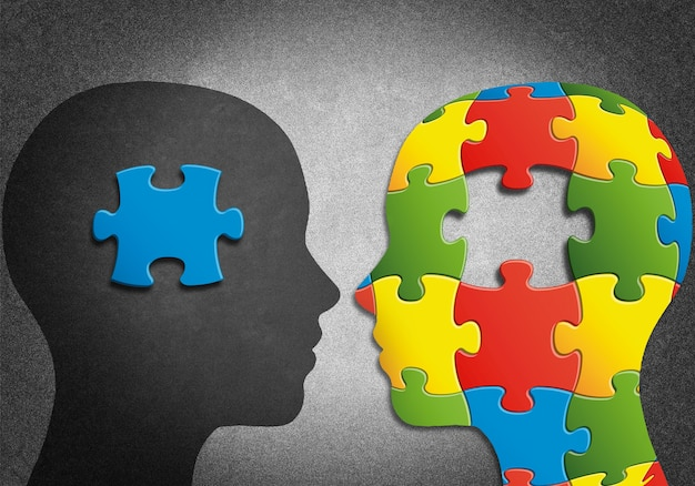 Silhouette of two heads and  puzzle
