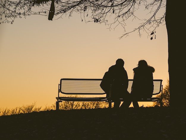 Silhouette of two people sitting on a bench under a tree during a sunset