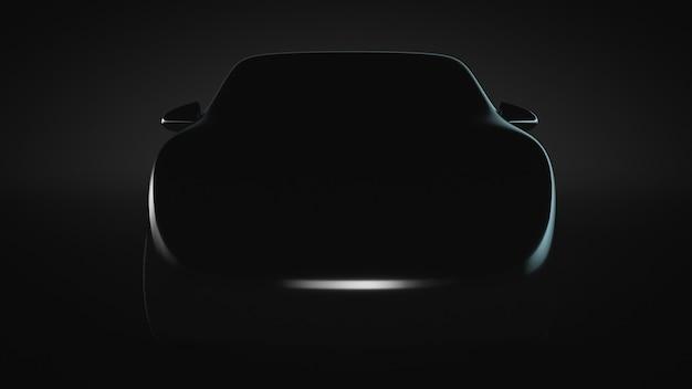 Silhouette of an unrecognizable car prototype. front view. automotive.