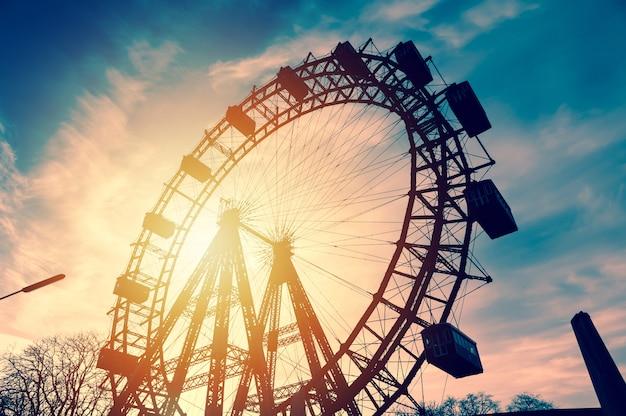 Silhouette of a vintage ferris wheel