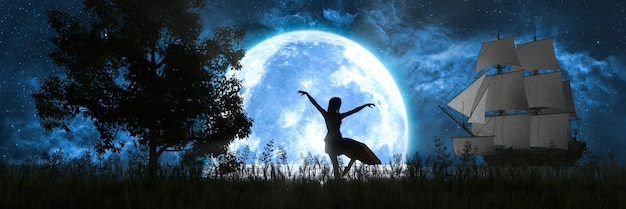 Silhouette of a woman dancing on the background of the moon and ship, 3d illustration