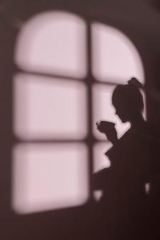 Siluetta di giovane donna a casa con le ombre della finestra
