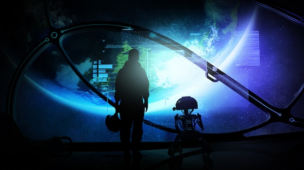 Silhouettes of an astronaut and a droid at the porthole of a spaceship in orbit of the earth, and virtual data in front of them.