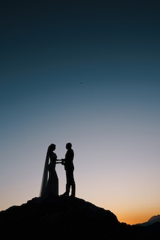 Silhouettes of the bride and groom stand on the mountain on the sunset sky