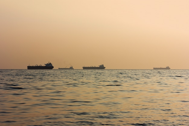 Silhouettes of cargo ships at sea at sunset, selective focus