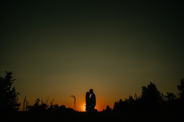 Silhouettes in love romantic couple lovers hugging, kissing, touching, eye contact at sunset