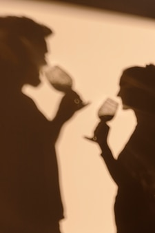 Silhouettes of man and woman having a date at home