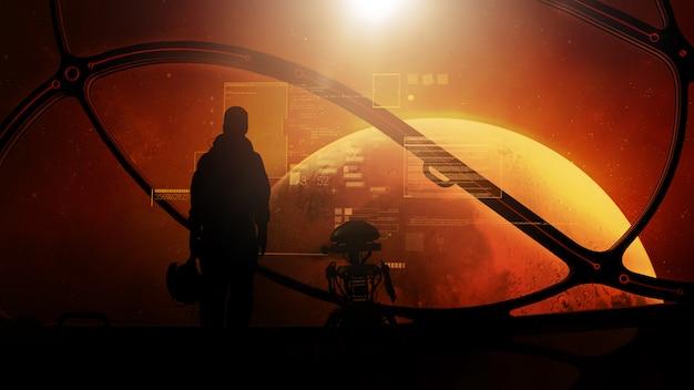 Силуэты космонавта и дроида перед виртуальными данными в иллюминаторе фантастического космического корабля, летящего на марс.