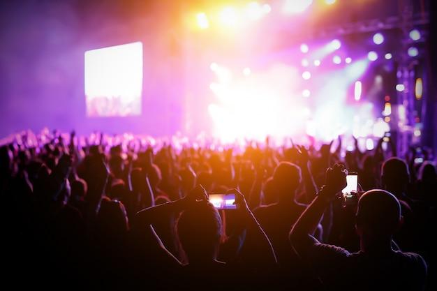 밝은 무대 조명 앞 콘서트 군중의 실루엣.