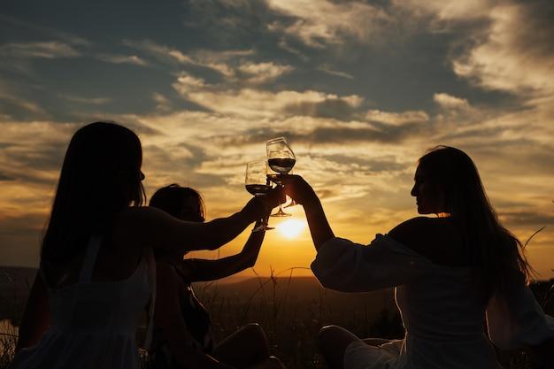 저녁 햇빛에 공원에서 여자의 실루엣. 태양의 불빛. 여자 친구의 회사는 여름 피크닉을 즐기고 와인으로 잔을 키 웁니다.