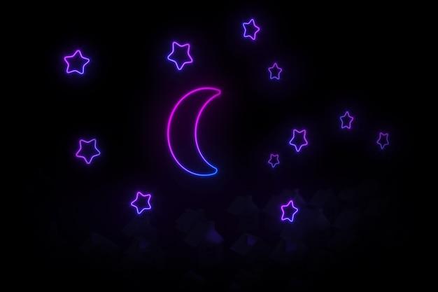 ネオンの月と星の3dイラストに照らされた傾斜屋根の小さな村の家のシルエット