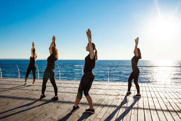 Силуэты спортивных женщин, танцующих зумбу у моря на рассвете