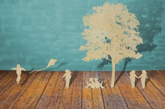 Silhouettes of trees and people on a wood