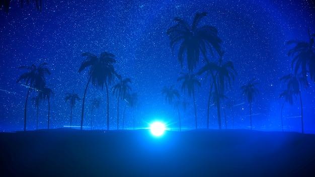 ヤシの木の星と月の3dレンダリングの夜のビーチパーティーと熱帯の夏の夜のシルエット