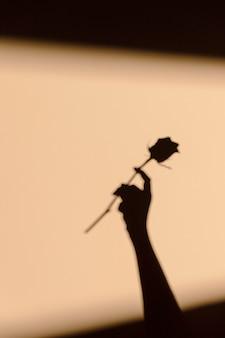 花を持っている女性のシルエット