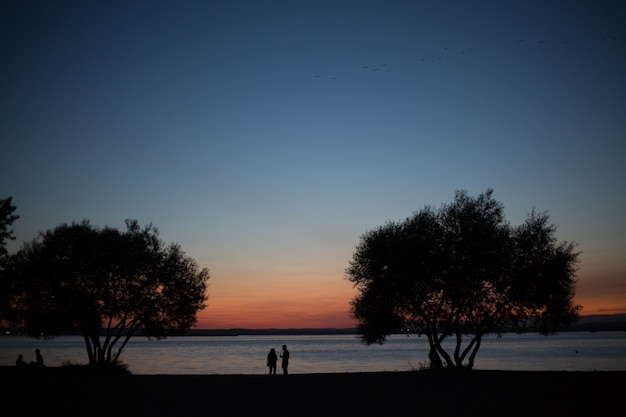 Silhouettes of people against the backdrop of a beautiful sunset. the man and woman.