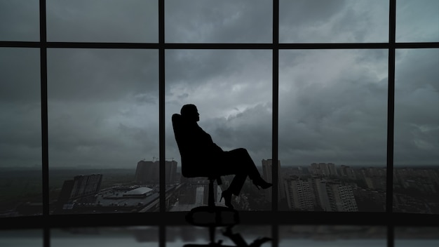 Silhouettes of people on a panorama background